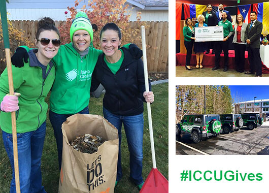 Sponsor community service raking leaves, Donate funds in check presentation to Hispanic Chamber of Commerce, Jeeps lined up, #ICCUGives