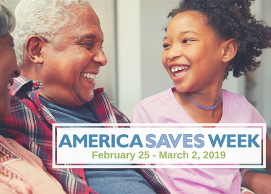America saves week graphic of family laughing