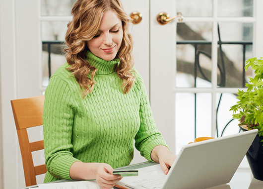 Woman Banking from Home